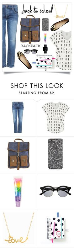 """""""Back to School: New Backpack!"""" by miss-image ❤ liked on Polyvore featuring Citizens of Humanity, Kate Spade, Kjøre Project, claire's, Retrò, Minnie Grace and Braun"""