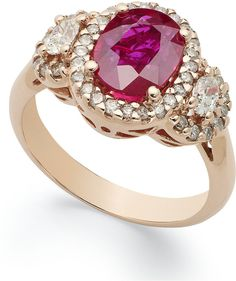14k Rose Gold Ring, Ruby (2-1/10 ct. t.w.) and #Diamond (5/8 ct. t.w.) Oval Ring