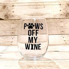 Paws Off My Wine Dog Themed Stemless Wine Glass by HenryAndPenny