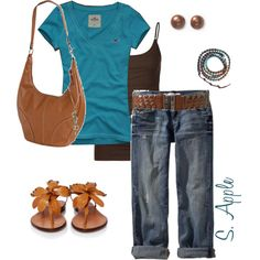 "Don't care for the flower shoes - but love the teal & brown together!    ""Blue & Brown"" by sapple324 on Polyvore"