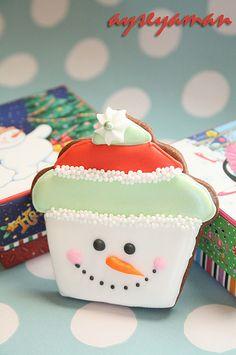 Cookie de Snowman Cupcake