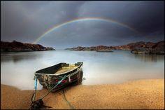 Rainbow and a wee boat – Ardtoe – Scotland