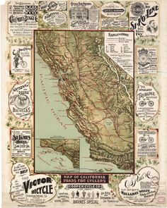 Bicycle Love - Vintage California Map Art Print by David Hinds. All prints are professionally printed, packaged, and shipped within 3 - 4 business days. Map Vintage, Vintage Travel Posters, Vintage World Maps, Vintage Prints, Vintage Wood, California Map, Vintage California, California History, Southern California