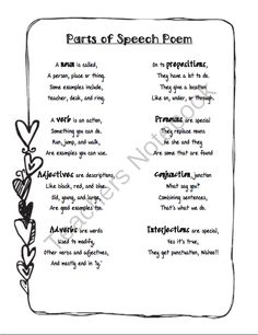 Parts of Speech Poem from Life in Middle School on TeachersNotebook.com (1 page)