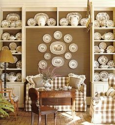 Breakfast room with brown and cream buffalo check, transferware on display, antiques, brick floor - Southern Accents Plate Display, China Display, Dish Display, Display Wall, Enchanted Home, Plates On Wall, Plate Wall, Hanging Plates, Pattern Mixing