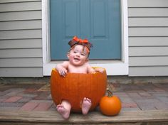 Halloween fun! Cute baby picture op with pumpkin  For additional resources come join us at:  http://www.smartappsforspecialneeds.com