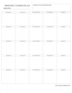 This Common Core Monthly Lesson Plan Template Is Perfect For - Monthly lesson plan template free
