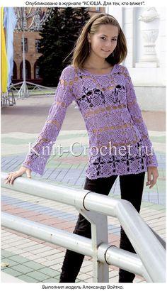 Вязанный крючком женский пуловер из квадратных мотивов.