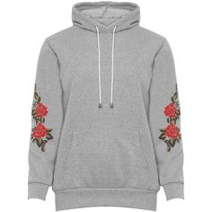 WearAll Plus Size Floral Print Sleeve Baggy Hoodie (37 CAD) ❤ liked on Polyvore featuring tops, hoodies, light grey, floral hoodie, plus size hooded sweatshirts, plus size hoodie, long sleeve hoodie and hooded sweatshirt
