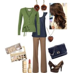 Fall colors in business casual. Love the blue/green combination