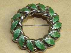 VTG Hobe Silver Tone Cable Link & Green Enamel Leaf Circle or Wreath Pin Brooch