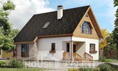 140-001-Л Проект двухэтажного дома мансардный этаж, скромный дом из арболита