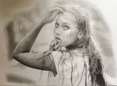 Pencil drawing of unknown girl