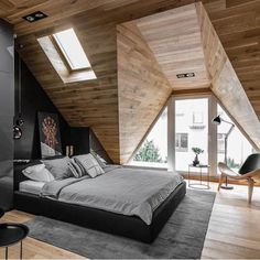 Okrezna Attic designed by Raca Architekci  #luxury #luxuryhome #architect #luxuryhouse #arquitectura #luxurylife #luxurylifestyle #mansion #mansions #mansionhouse #bighouse #bighouses #lights #homes #bed #homestyle #homestead #homestyling #house #wood #architecture #architectureporn #design #modern #architects #bedroom #interior #interiordesign  All credits correspond to photographerdesignercreator - Architecture and Home Decor - Bedroom - Bathroom - Kitchen And Living Room Interior Design…