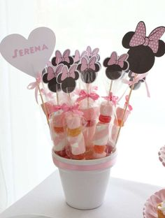 Minnie Mouse birthday party candy pops! See more party planning ideas at CatchMyParty.com