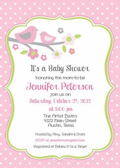 Baby Shower Invitation Bird Mom for Girl DIY by BellePrintables, $12.50