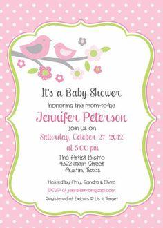 Baby Shower Invitation  Bird Mom for Girl DIY by BellePrintables, $12.50