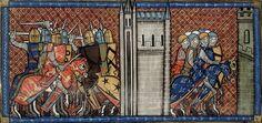 La bataille de la Roche-aux-Moines. (Miniature du XIVe siècle).