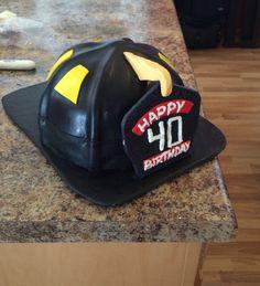 Fire helmet birthday cake