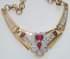 Signed McClelland Barclay Red Rhinestone Bracelet and Necklace ...