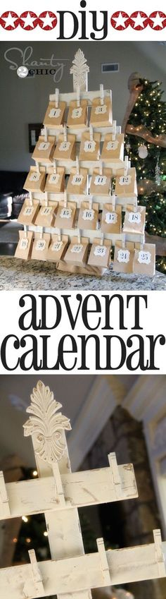 DIY Wood #Christmas Tree Calendar... instead of an advent calendar, each bag will contain some sort of surprise/ treat for them. On the 25th day, there will be something in the bag telling the children/ family what family activity we are going to do on that day. After the family activity, we will go eat dinner with the rest of the