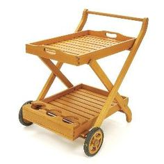 Serving Cart with Tray in Natural Oil Finish. Product in photo is from www.wellappointedhouse.com