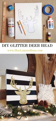 "DIY Glitter Deer Head - So in typical holiday-obsessed fashion, I completely decked the halls all day Sunday.  It may have been 80 degrees outside but our house is twinkling, glittery, and smells like ""Sparkling Snow"" 24-7.  I love it!  I don't really think I have any corners or wall space left for more Christmas DIYs, but I just had to find a spot for this one."