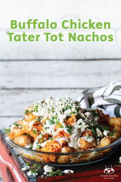 You will become the hostess with the mostess when you bring out a heaping plate of these Buffalo Chicken Tater Tot Nachos to your game day guests. Plus, this appetizer recipe takes just 25 minutes to make!