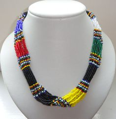 African style Zulu beaded rope necklace black by AmahleJewellery, $31.00