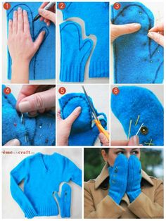 Make mittens with an old woolen sweater. 15 great ideas for recycling old clothes Sewing Clothes, Diy Clothes, Clothes Refashion, Sewing Crafts, Sewing Projects, Recycle Old Clothes, Sewing Patterns, Crochet Patterns, Old Sweater
