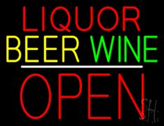 Liquor Beer Wine Block Open White Line Neon Sign 24 Tall x 31 Wide x 3 Deep, is 100% Handcrafted with Real Glass Tube Neon Sign. !!! Made in USA !!!  Colors on the sign are Red, Yellow, Green and White. Liquor Beer Wine Block Open White Line Neon Sign is high impact, eye catching, real glass tube neon sign. This characteristic glow can attract customers like nothing else, virtually burning your identity into the minds of potential and future customers.