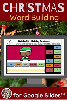 Students practice building sentences with this set of Google Slides™. On each slide, students select a pronoun, noun, verb, and adjective to create a sentence. Practice sentence structure while having fun during the holiday season. Winter and the holidays and are color coded by part of speech to guide students in this activity. After they drag and drop each word to form a sentence, they type new sentences on the slide. A printable recording sheet is provided as an extra extension task. Sentence Building, Word Building, 4th Grade Classroom, Classroom Activities, Fourth Grade, Second Grade, Christmas Activites, Silly Holidays, Nouns And Adjectives