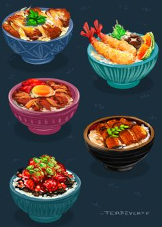 don-don- buri-buri. delicious donburi. 丼 食べたい!(っ˘ڡ˘ς)