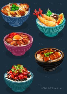 don-don- buri-buri. delicious donburi. 丼 食べたい!(っ˘ڡ˘ς)