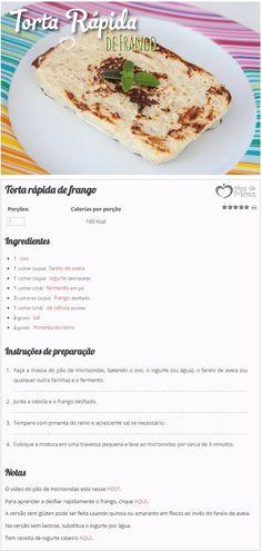 Torta Rápida de Frango - Blog da Mimis - Emagreça com receita de torta de frango de 160 calorias.