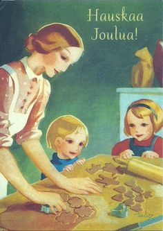 Vintage Martta Wendelin Christmas Card ~ Christmas Baking with the Munchkin's! Christmas Past, Christmas Images, Vintage Christmas, Christmas Cards, Xmas, Christmas Postcards, Christmas Baking, Vintage Cards, Vintage Postcards