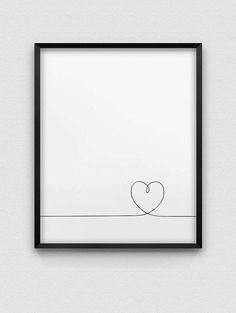 Heart print // love print // black and white minimalistic wall decor // romantic wall art // line heart print // line heart illustration - Home Decor 2019 Romantic Home Decor, Romantic Homes, Art Mural Amour, Heart Wall Decor, Dyi Wall Decor, Bedroom Decor, Black And White Heart, Black And White Prints, Love Wall Art