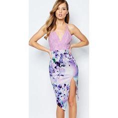 Vestido de tubo con parte superior de encaje y falda asimétrica estampada de Ginger Fizz asos el-violeta Encaje