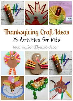 Thanksgiving craft ideas for preschoolers - 25 easy and fun ideas collected by Teaching 2 and 3 Year Olds