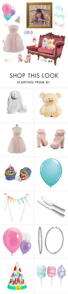 """Pity Party ~ Melanie Martinez"" by impossiblewolf ❤ liked on Polyvore featuring Jellycat, Chicwish, ACME Party Box Company, Waterford, BERRICLE, Cotton Candy and Essie"