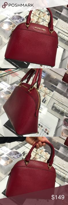 Michael Kors EMMY Small Dome Satchel & Crossbody Michael Kors EMMY Small Dome Satchel & Crossbody Cherry Red Leather Handbag NWT To my loves Fast shipping. Smoke and pets free. No trade please! Authentic guaranteed by tag or receipt. Michael Kors Bags Crossbody Bags