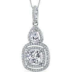 MSRP: $179.99 Our Price: $79.99 Savings: $100.00   Item Number: SP10876  Availability: Usually Ships in 5 Business Days   PRODUCT DESCRIPTION:  This beautiful pendant for her features exceptional design, craftsmanship and finishing.  A brilliant  double halo perfectly frames a cushion...