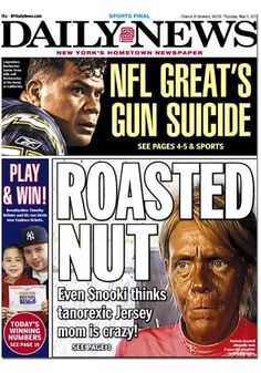 """NY Daily News is the worst paper (and website), but today, they win the 'best cover story of the day' award for """"Roasted Nut"""".  NY Post, I'm sorry."""