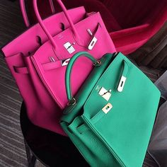 Hermes Birkin in pink and a green Kelly.