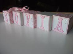 Wooden Name Blocks   Baby Name Blocks  Pink Damask by bitsyblocks, $5.00