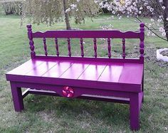 Bench - wooden headboard made into a bench and painted purple, full size bed,garden bench,vintage Garden Fence Art, Garden Beds, Garden Junk, Interior Wall Colors, Painted Benches, Cottage Art, Garden Wedding Decorations, Small Pools, Vintage Shabby Chic