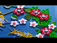 Quilling How to make Beautiful Quilling Red/white Flower Quilling -Paper Quilling Art - YouTube