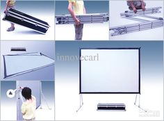 fast fold rear projection screen with portable aluminum flight case