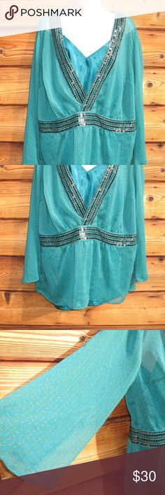 """Lane Bryant  Sequined Floral Blouse Top with Cami Lane Bryant  Sequined Floral Blouse with Matching Satin Cami, Green, Size 14/16, New with Tags  Details: Lane Bryant Color: Green print Size: 14/16 100% Polyester Hand Wash  Measurements: Length:25"""" Bust: 44"""" Waist: 46"""" Lane Bryant Tops Blouses"""