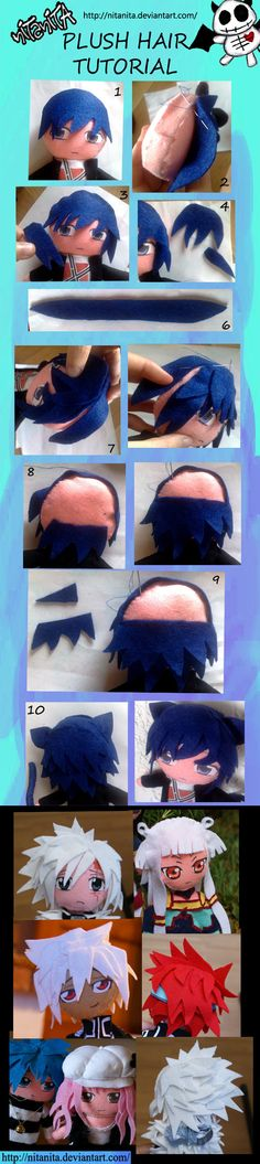 Plush Hair tutorial by nitanita on deviantART - Plushies Doll Crafts, Diy Doll, Sewing Crafts, Plushie Patterns, Doll Patterns, Doll Making Tutorials, Sewing Tutorials, Felt Fabric, Fabric Dolls